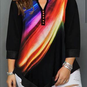 Beautiful multi colored blouse asymmetric hem